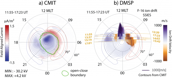 Average ionospheric potential and DMSP F-16 ion drift observations image