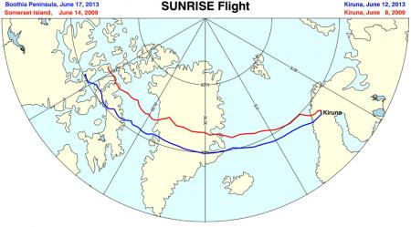 Flight paths of the two Sunrise missions image