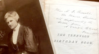 Annie Maunder's birthday book and her formal portrait displayed together
